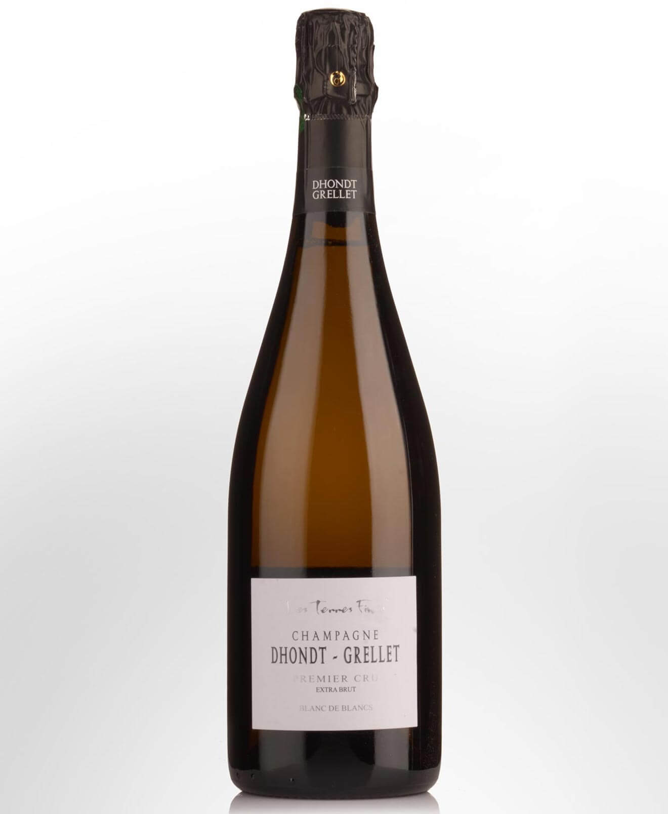 Dhondt Grellet Grand Cru Blanc de Blancs Non-Vintage, bottle on light background