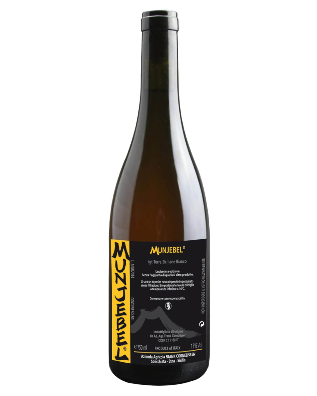 Frank Cornelissen Munjebel 2016, bottle on white