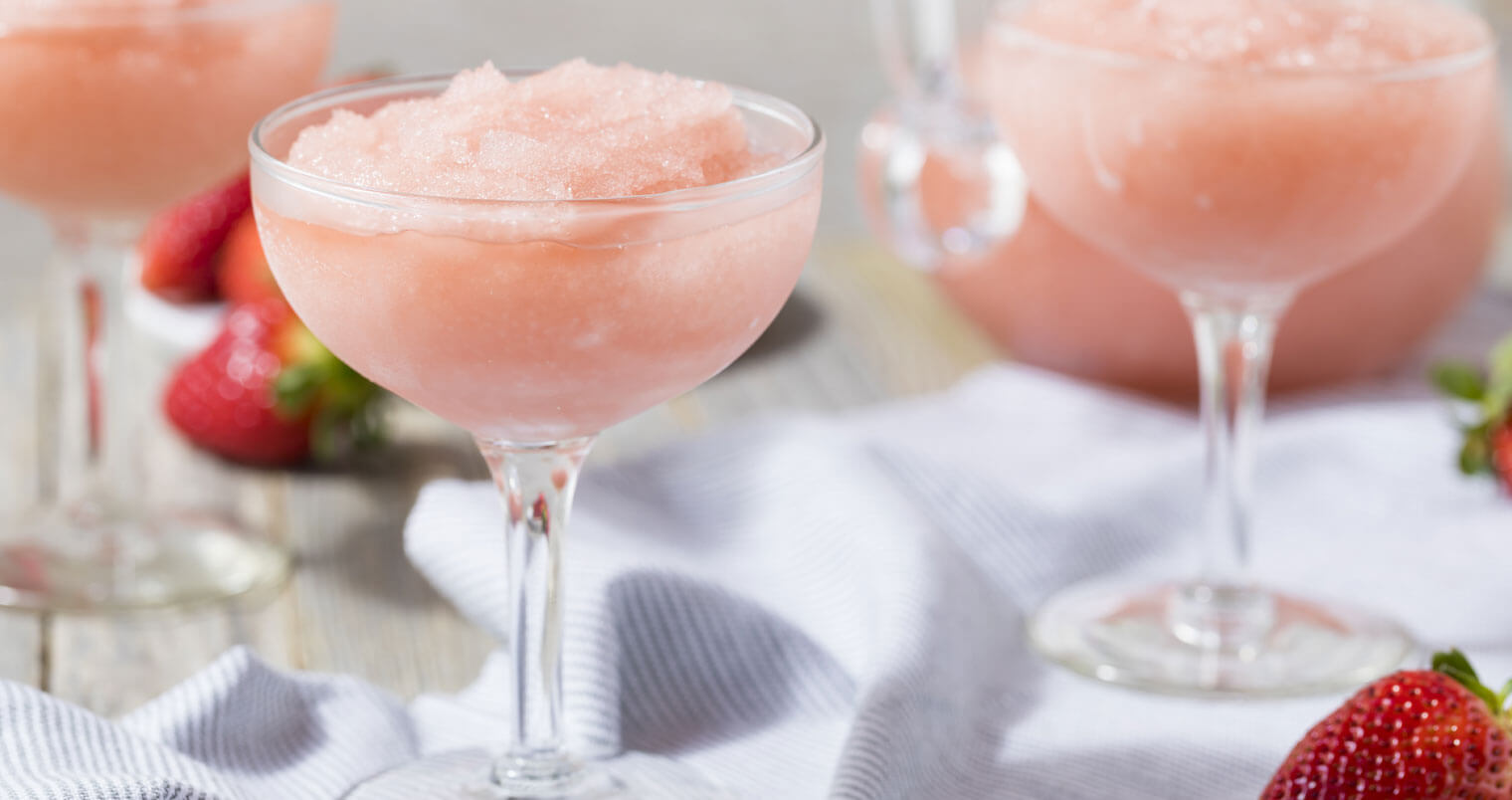 Frozen Rosé, frozen cocktails with garnish, martini glasses, featured image
