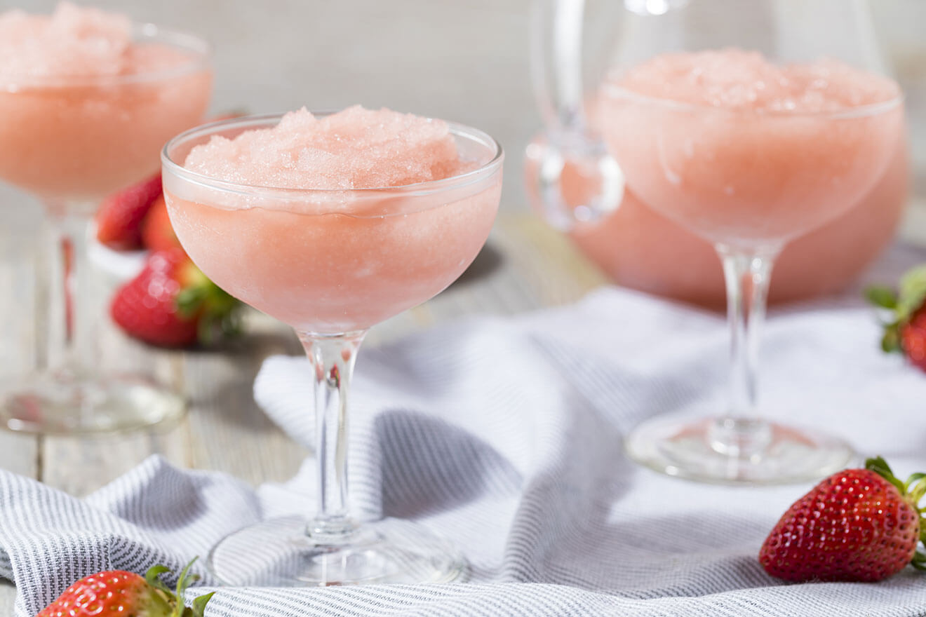 Frozen Rosé, frozen cocktails with garnish, martini glasses