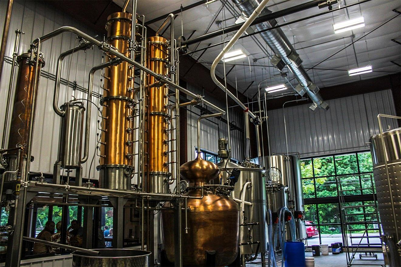 Hatch Distilling stills interior view