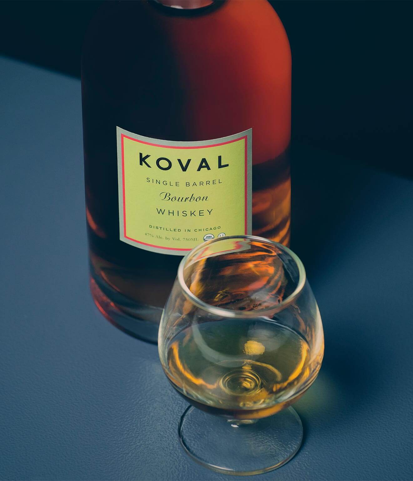 Koval Bourbon, bottle and glass