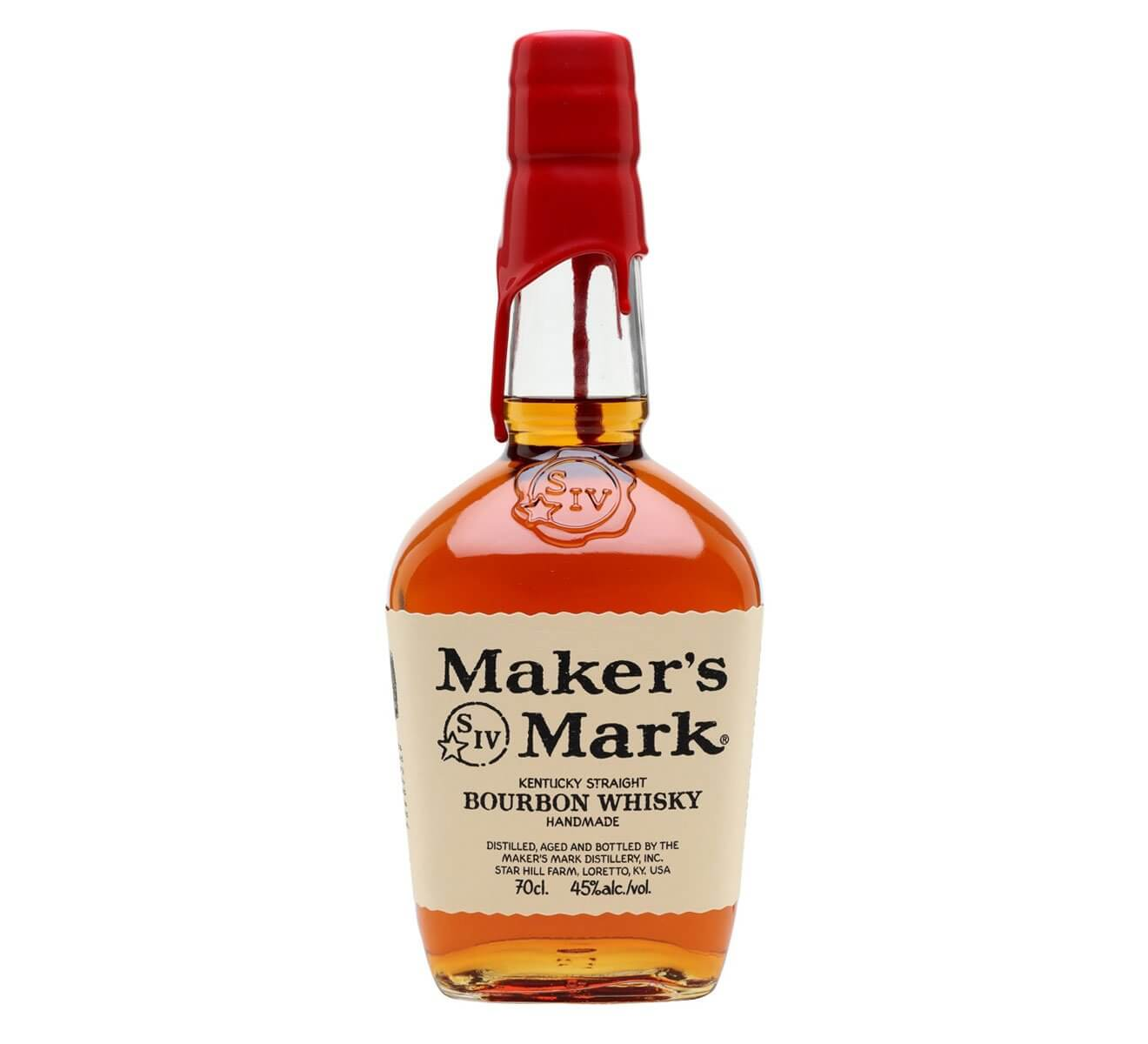 Maker's Mark Bourbon, bottle onw hite