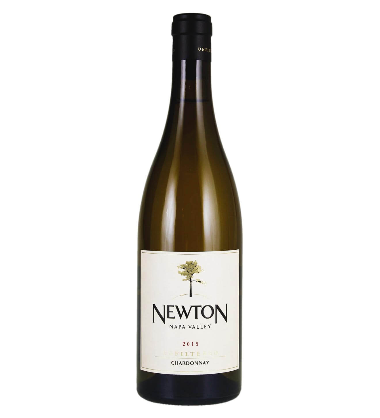 Newton Unfiltered Chardonnay 2015, bottle on white