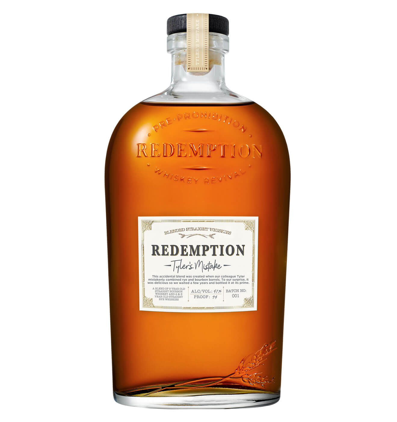 Redemption Whiskey, bottle on white