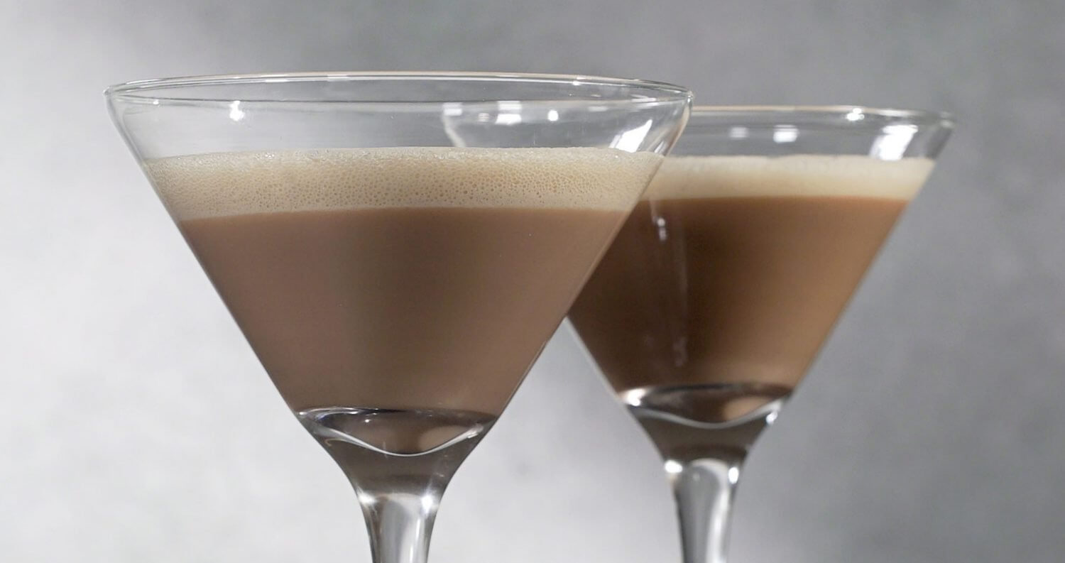 RumChata Cappuccino Martini, cocktails on grey, featured image