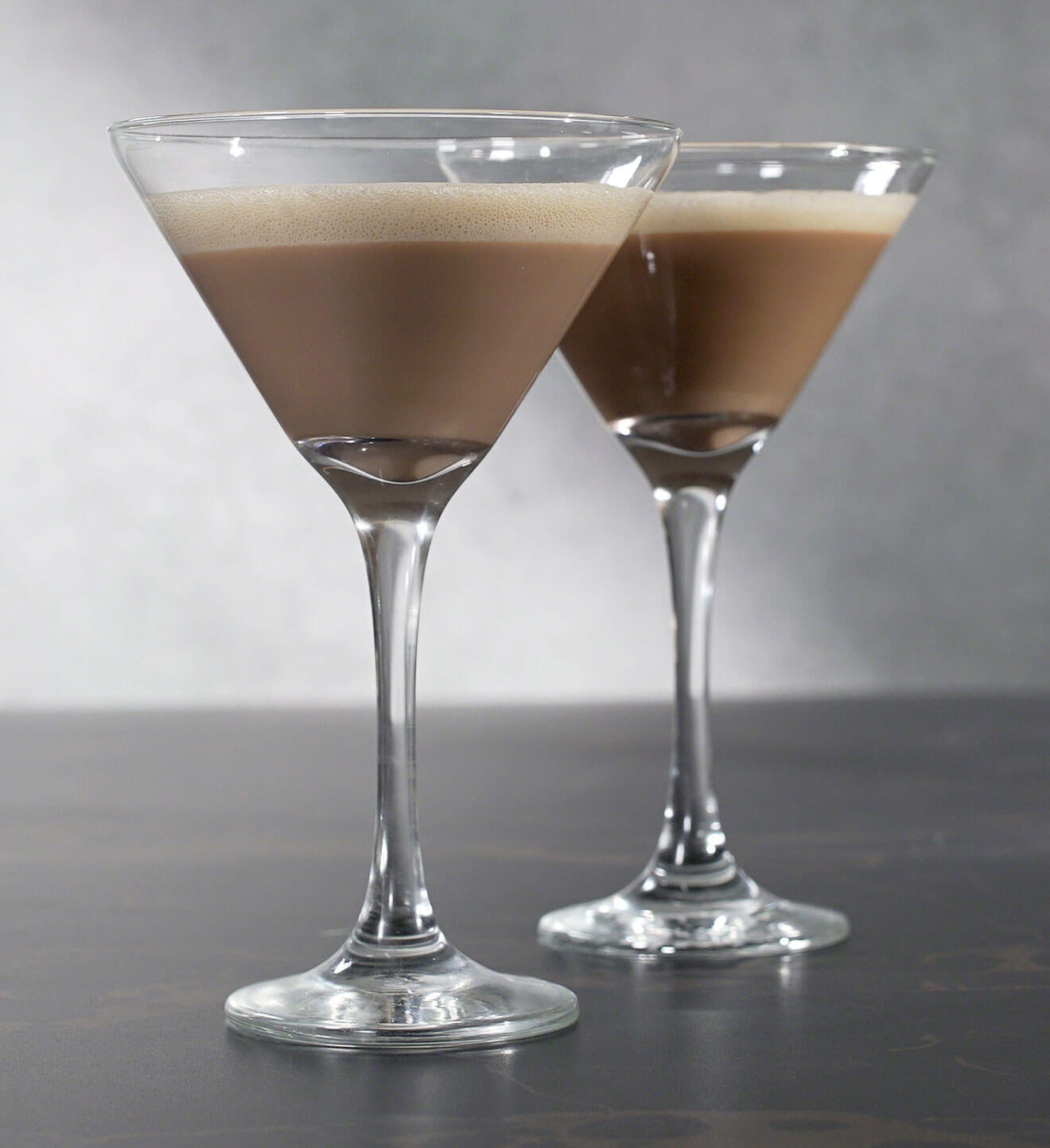 RumChata Cappuccino Martini, cocktail on grey background