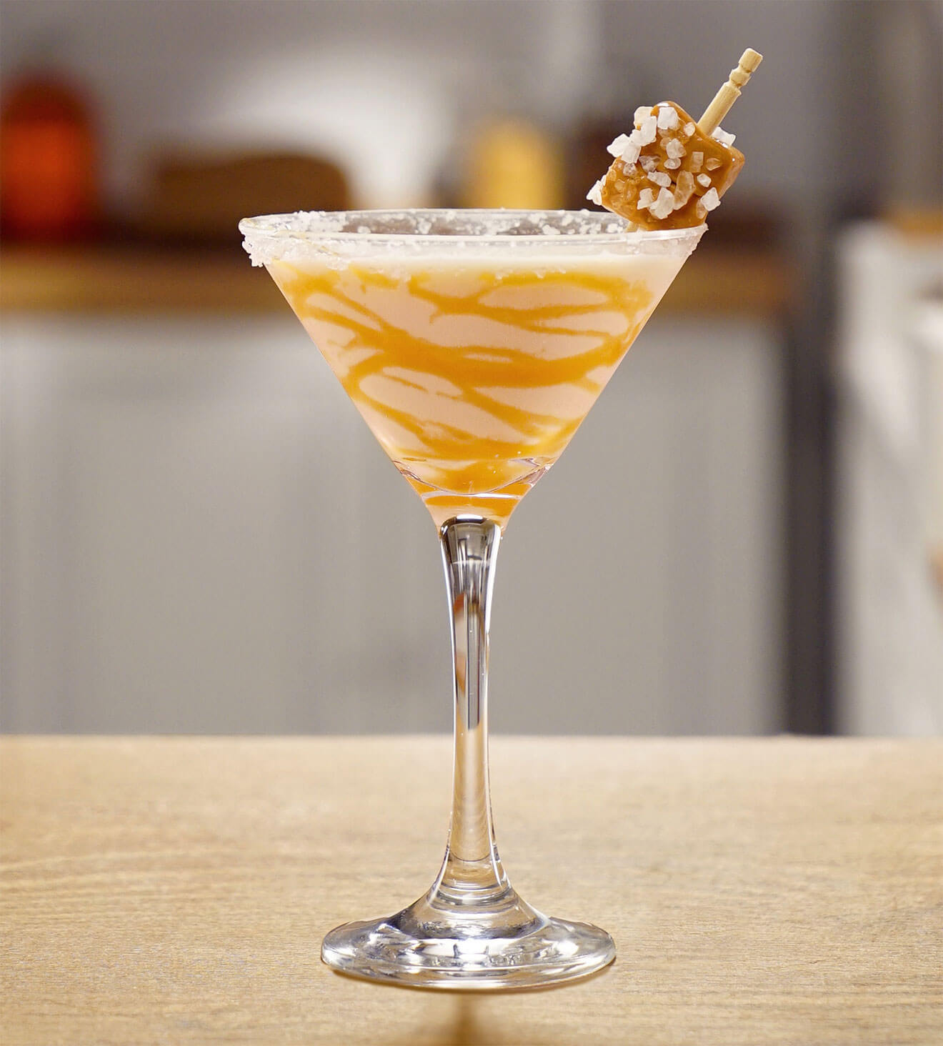 RumChata Salted Caramel Martini, cocktail with sweet garnish