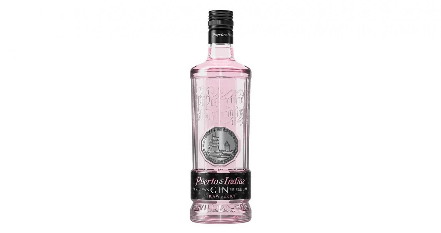 Puerto de Indias Strawberry Gin, bottle on white featured image