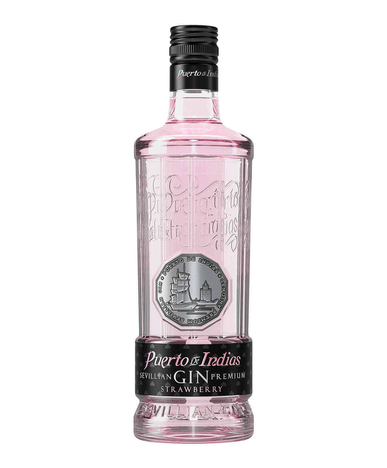 Puerto de Indias Strawberry Gin, bottle on white