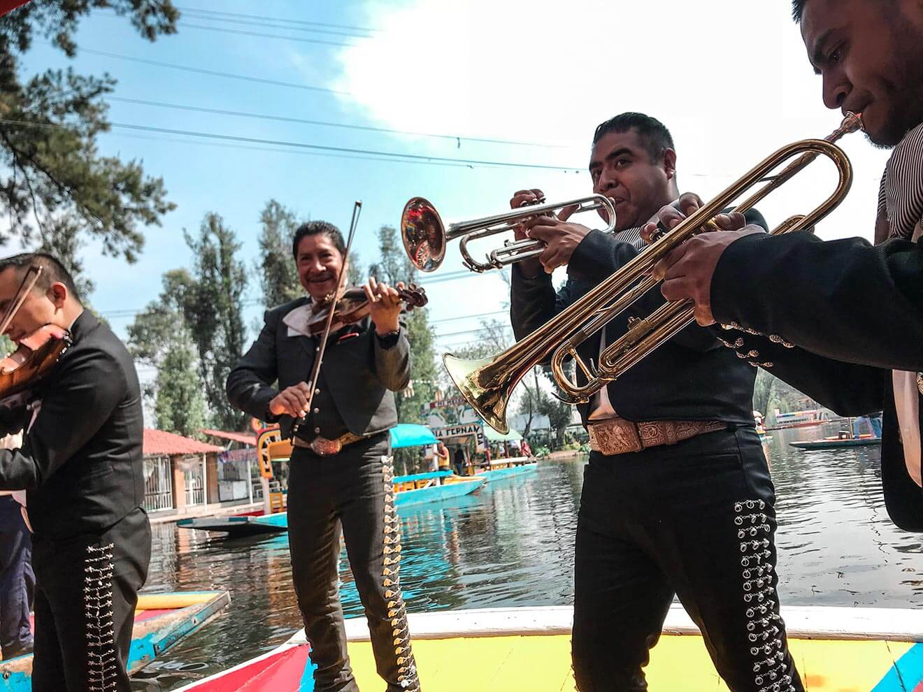 Xochimilco Band Playing, brass instruments