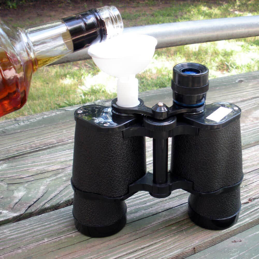 Binocular Flasks, liquor pouring