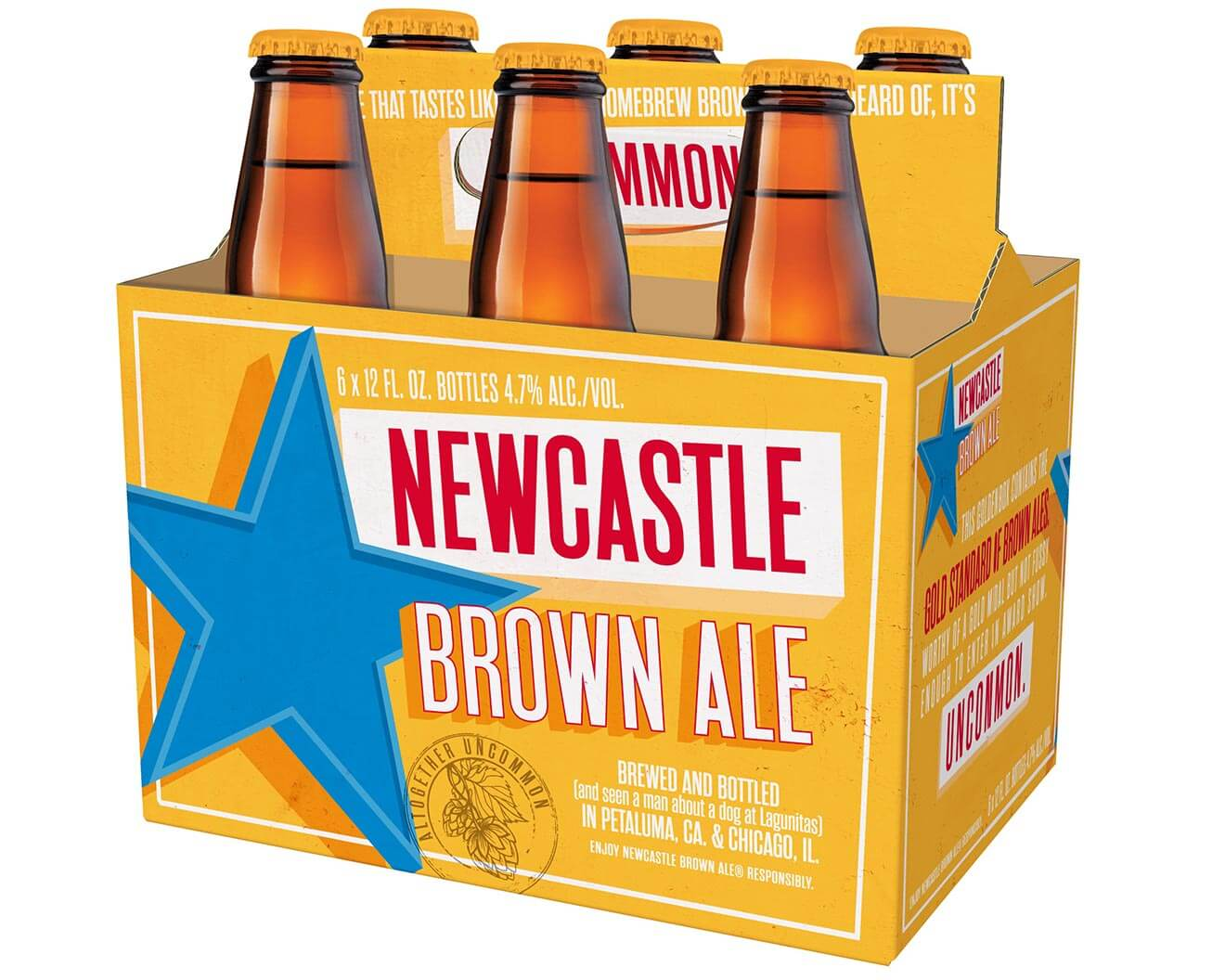 New Castle Brown Ale 6 Pack, bottles on white