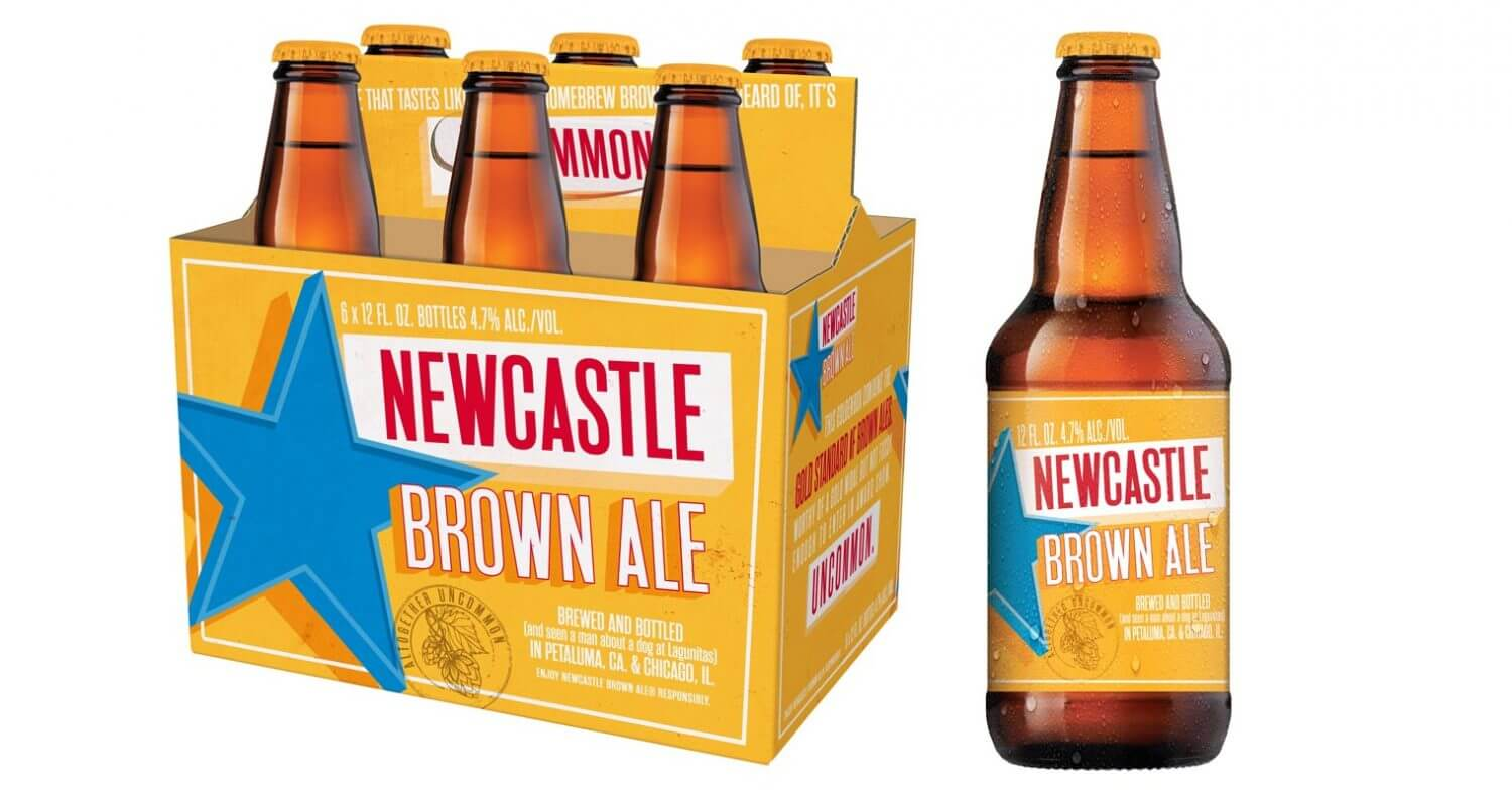 New Castle Brown Ale 6 Pack, bottles on white, featured image