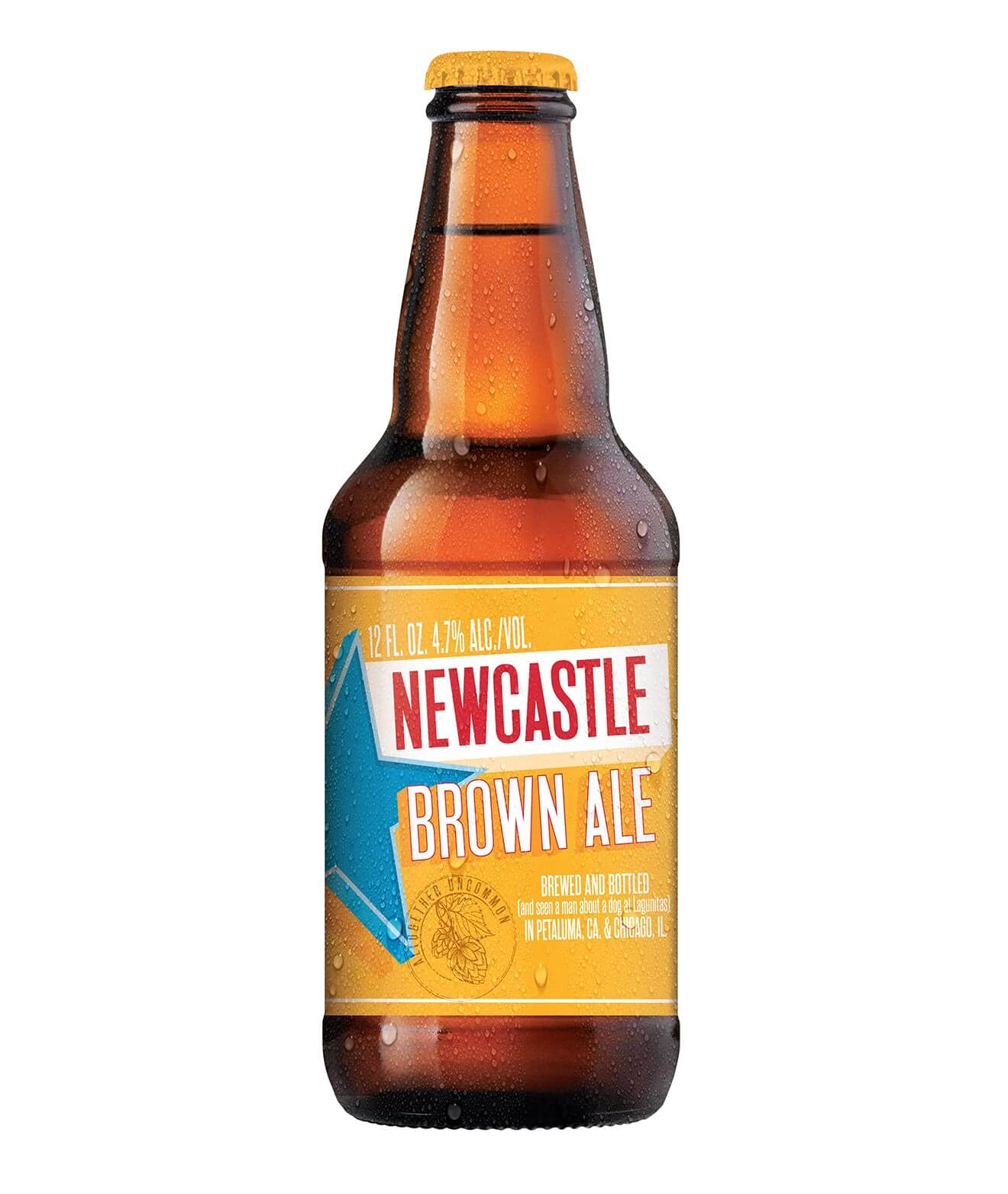New Castle Brown Ale, bottle on white