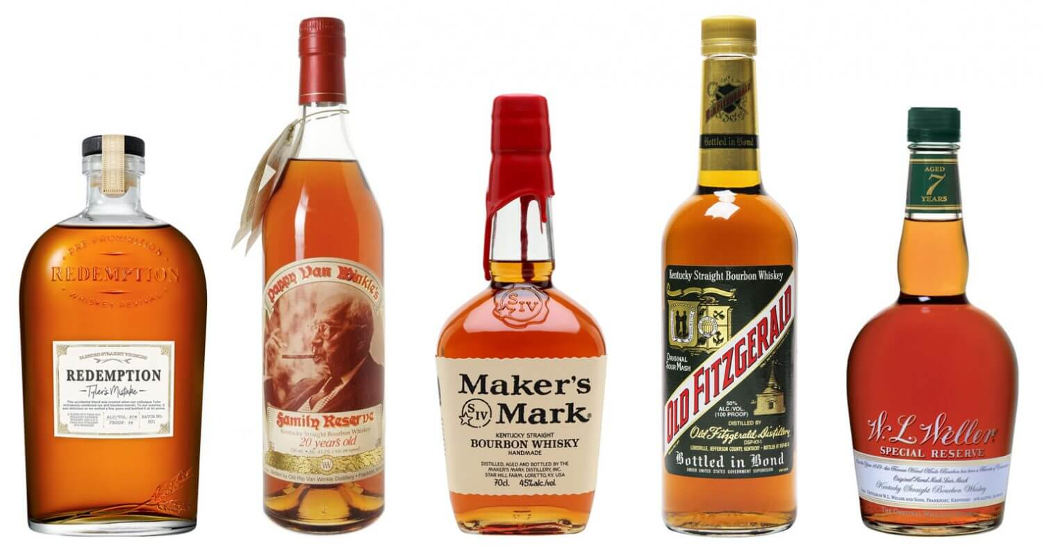 Wheated Bourbon Selections, bottles on white, featured image