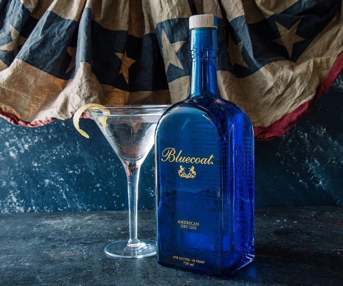 Bluecoat America, martini and bottle