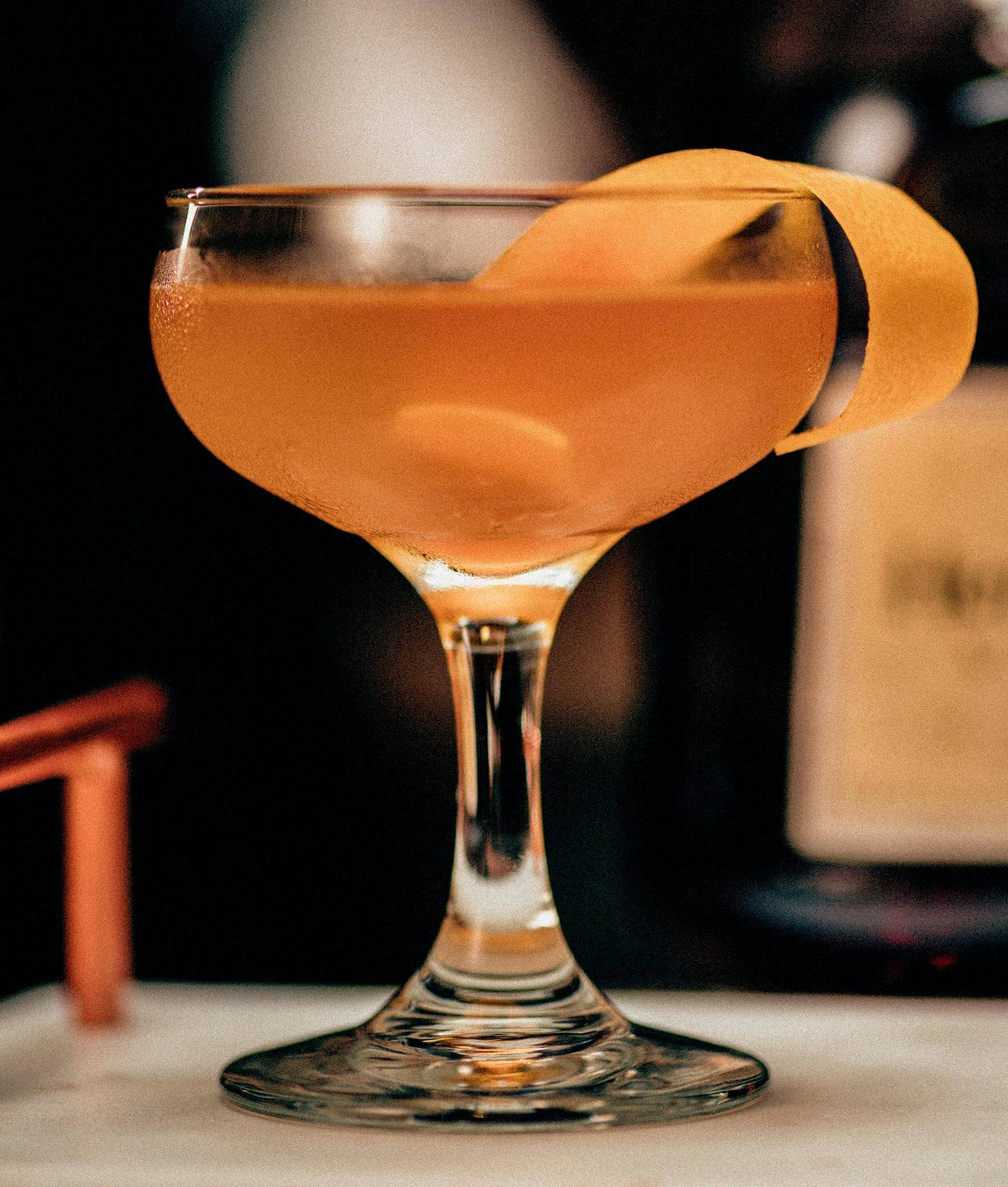 Cognac Sidecar, cocktail with orange peel garnish