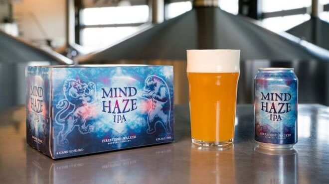 Firestone Walker Brewing Company Mind Haze IPA, can glass and packaging