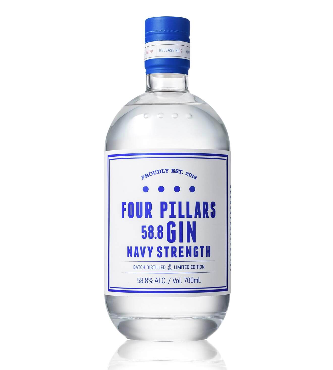 Four Pillars Navy Strength Gin, bottle on white
