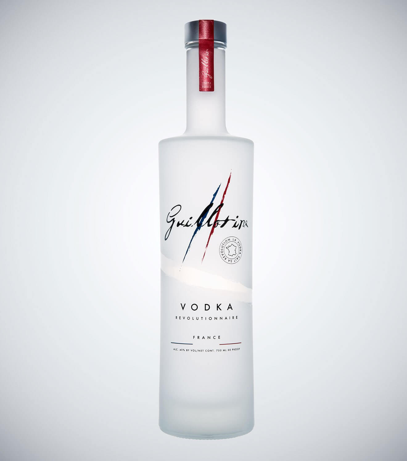 Guillotine Vodka, bottle on light gradient