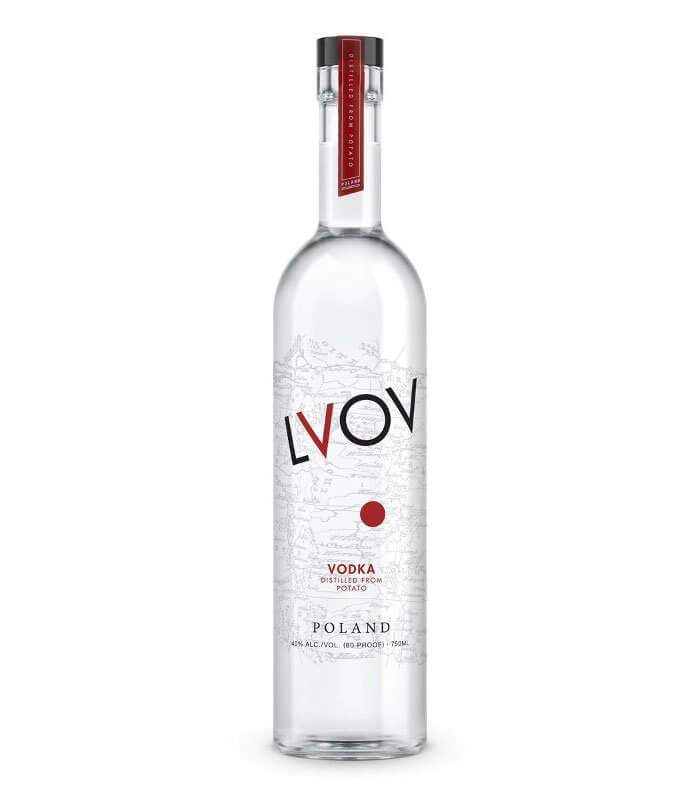LVOV Vodka, bottle on white