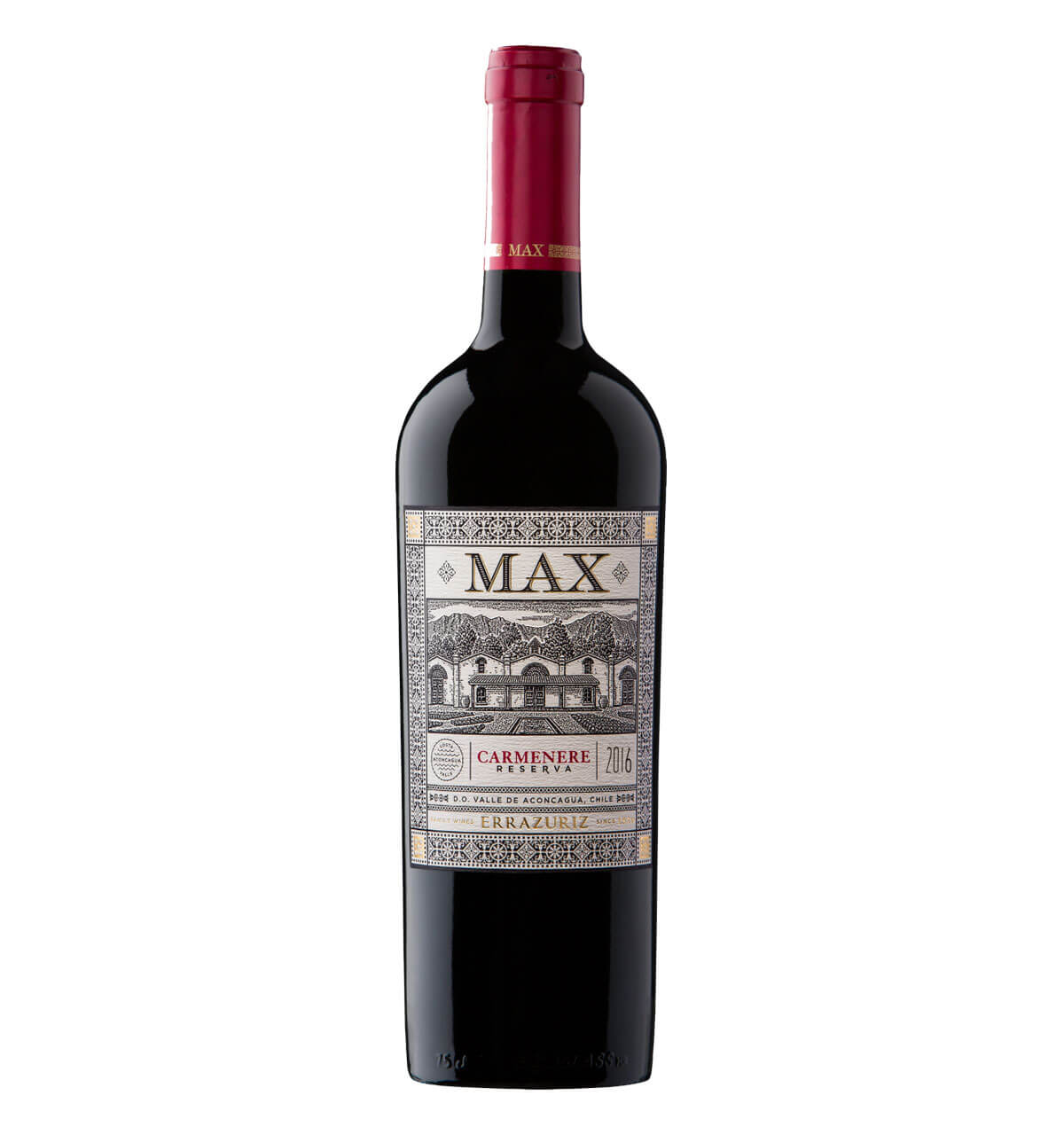 Max Carmenere 2016, bottle on white