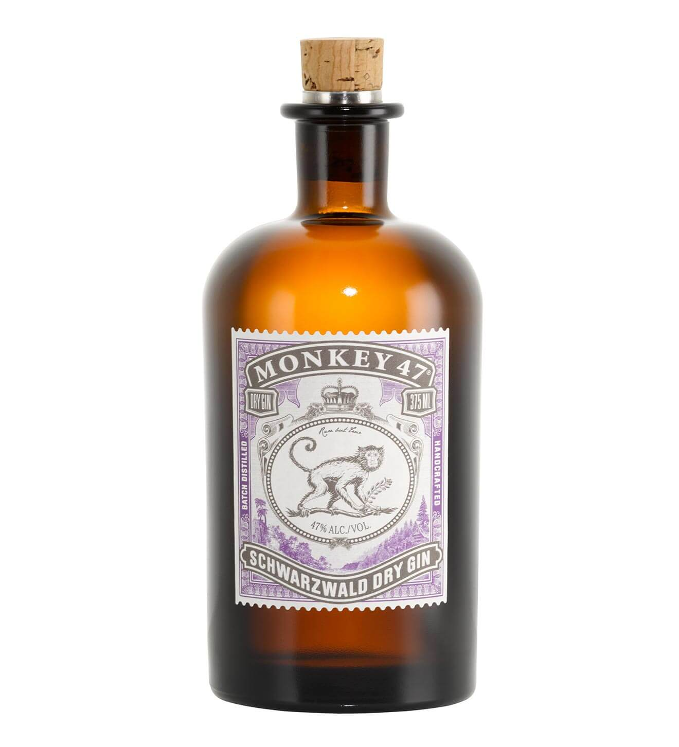 Monkey 47 Schwarzwald Dry Gin, bottle on white