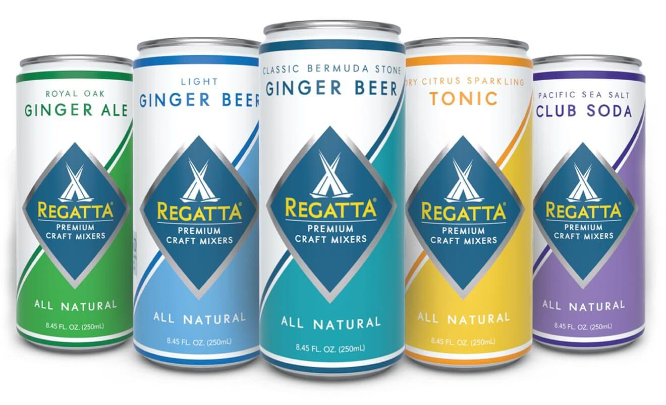 Regatta's Craft Mixer Lineup, cans on white back