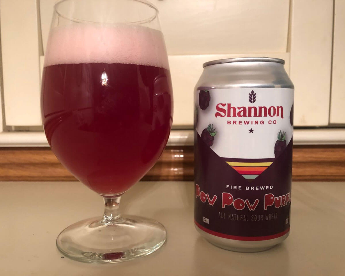 Shannon Brewing Company Pow Pow Purple, glass and can