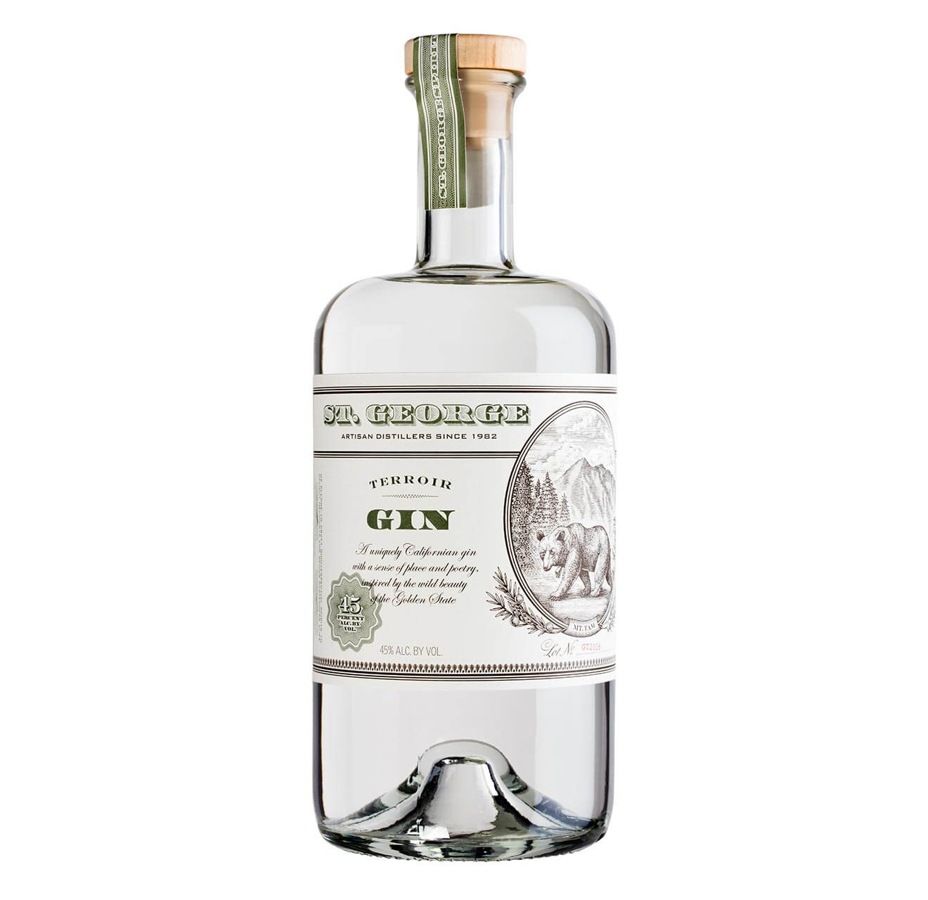 St. George Terroir Gin, bottle on white