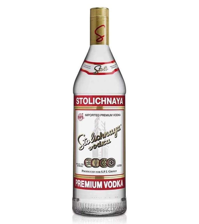 Stoli Vodka, bottle on white
