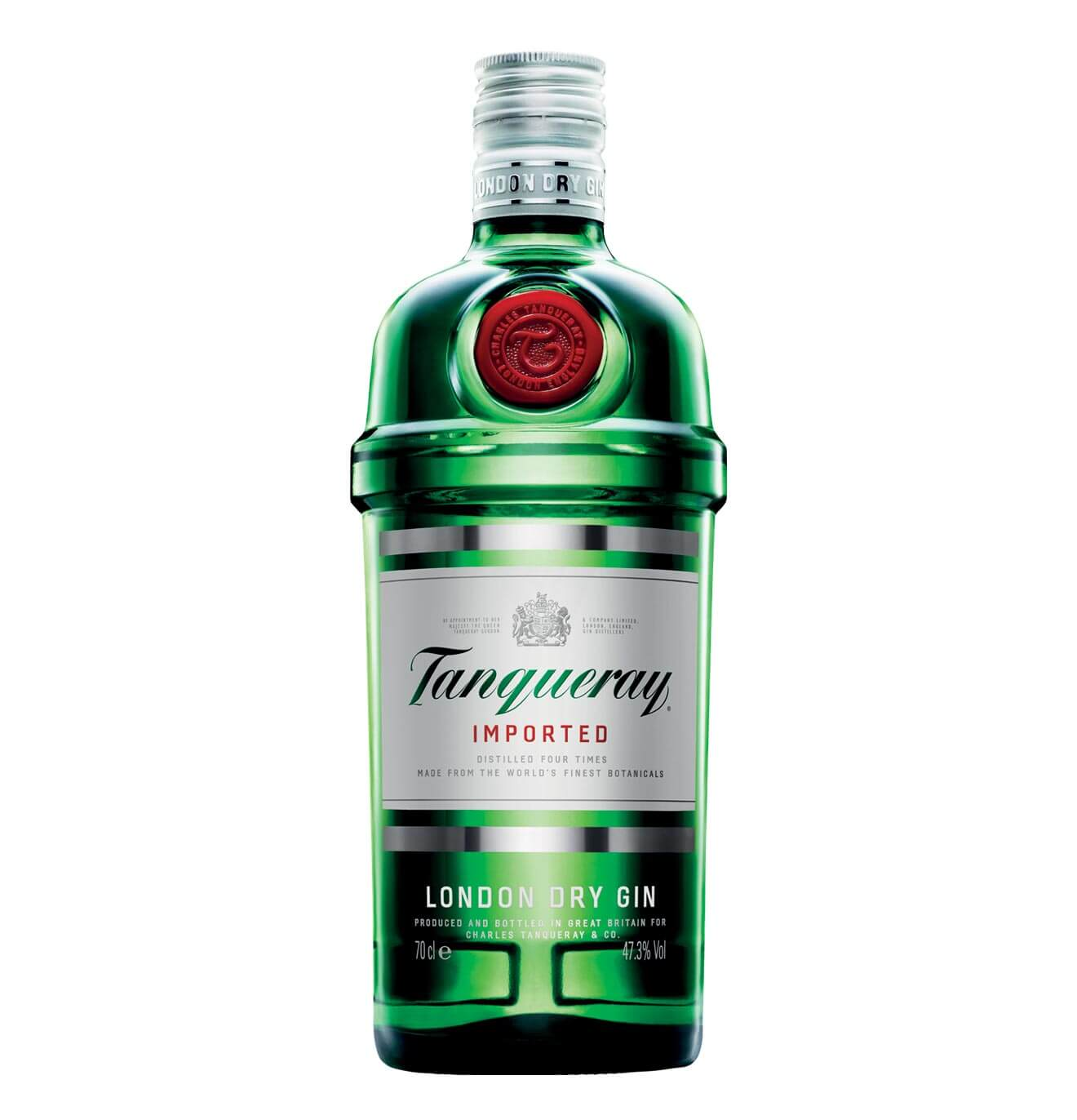 Tanqueray London Dry Gin, bottle on white
