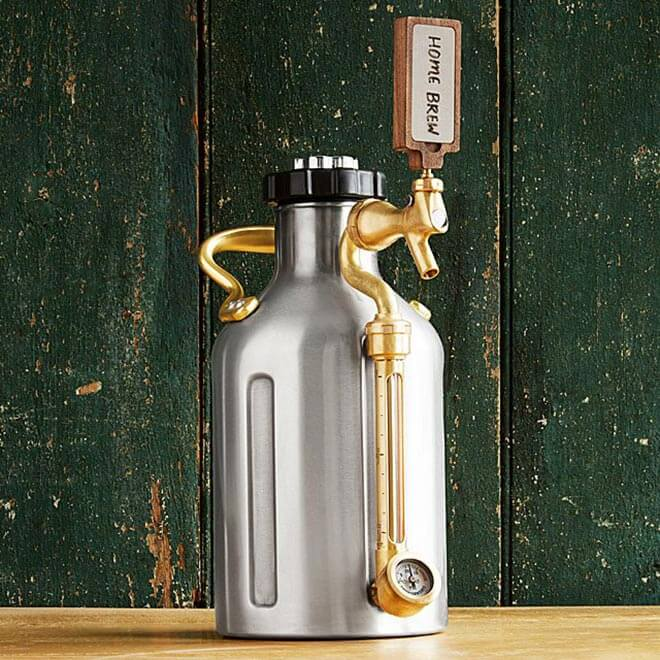 Pressurized Craft Beer Growler, rustic green wood wall background
