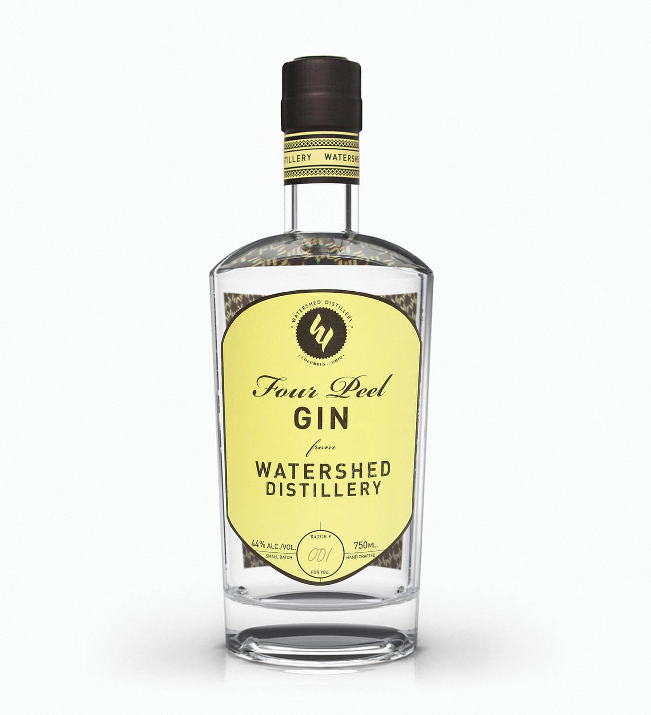 Watershed Four Peel Gin, bottle on white
