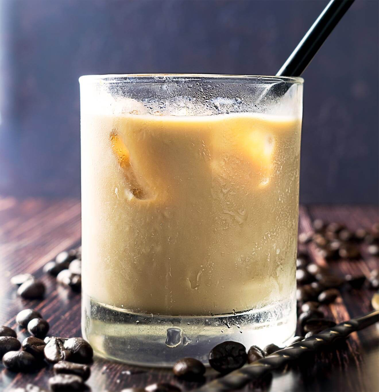 White Russian, cocktail and coffee beans