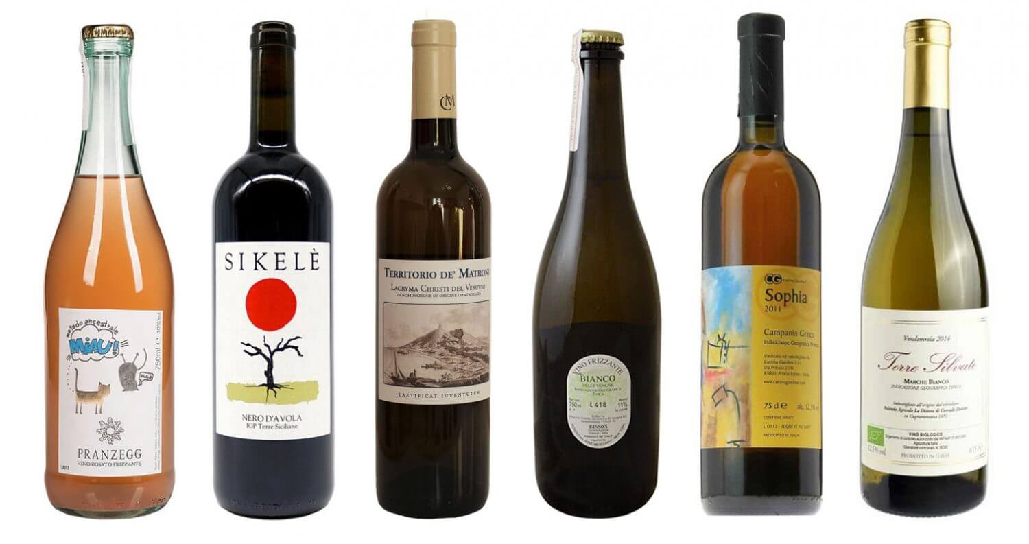 Interesting, Inexpensive Italian Wines, bottles on white, featured image