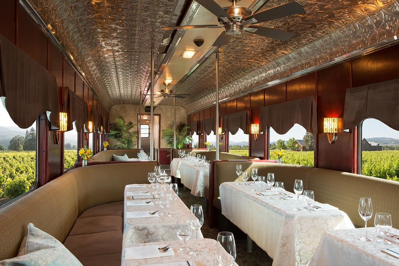 Nappa Valley Wine Train, interior dining area