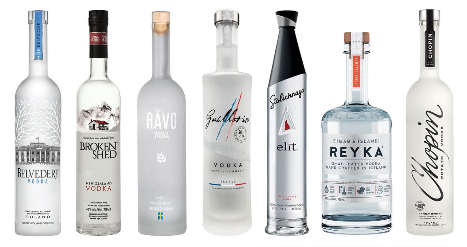7 Excellent Martini Vodkas, bottles on white, featured image