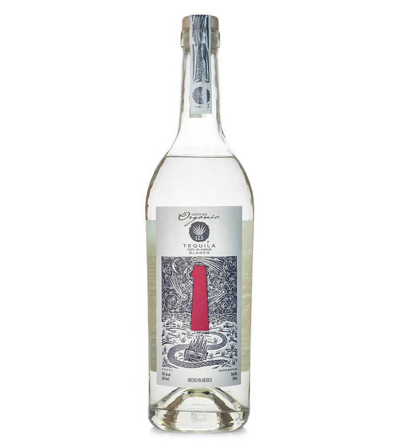 123 Organic Tequila, bottle on white