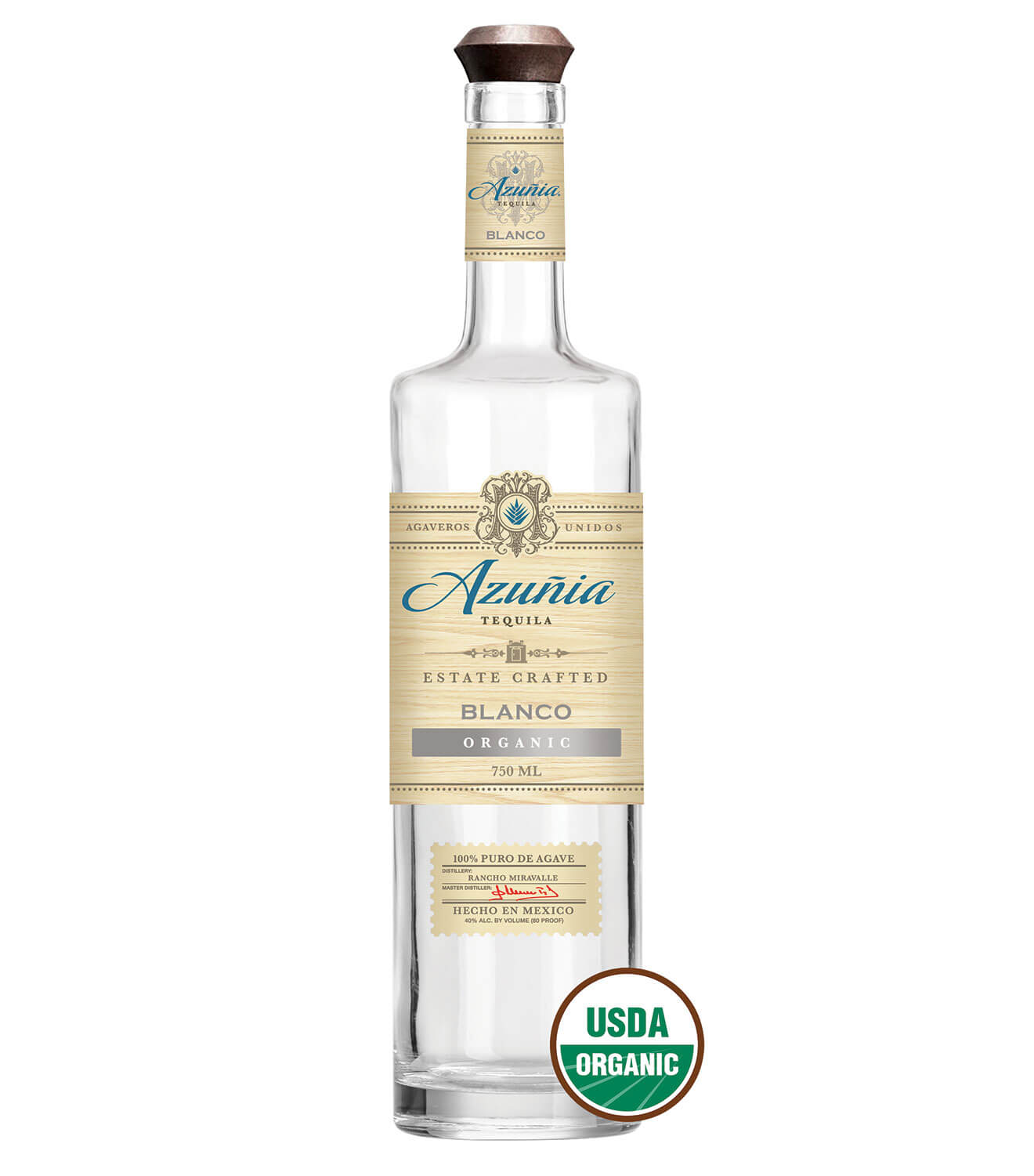 Azuñia Blanco Tequila, bottle on white