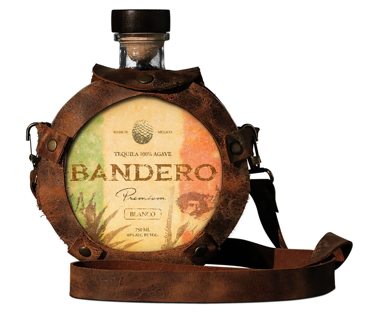 Bandero, bottle cask on white