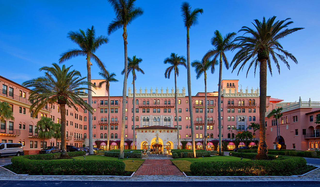 Boca Raton Resort & Club, front entrance, palm trees