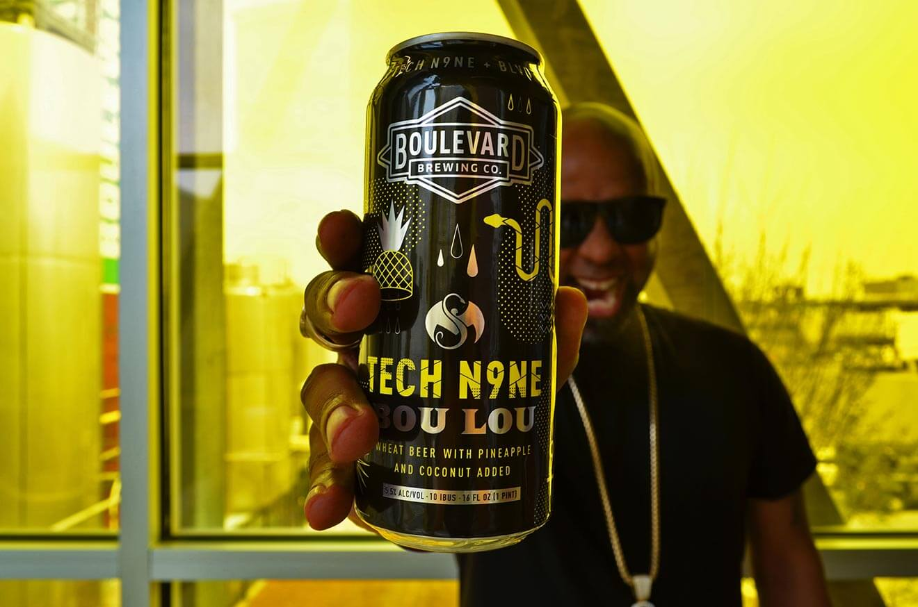 Boulevard Brewing's Collab with Tech N9ne Bou Lou, rapper with can, yellow shot