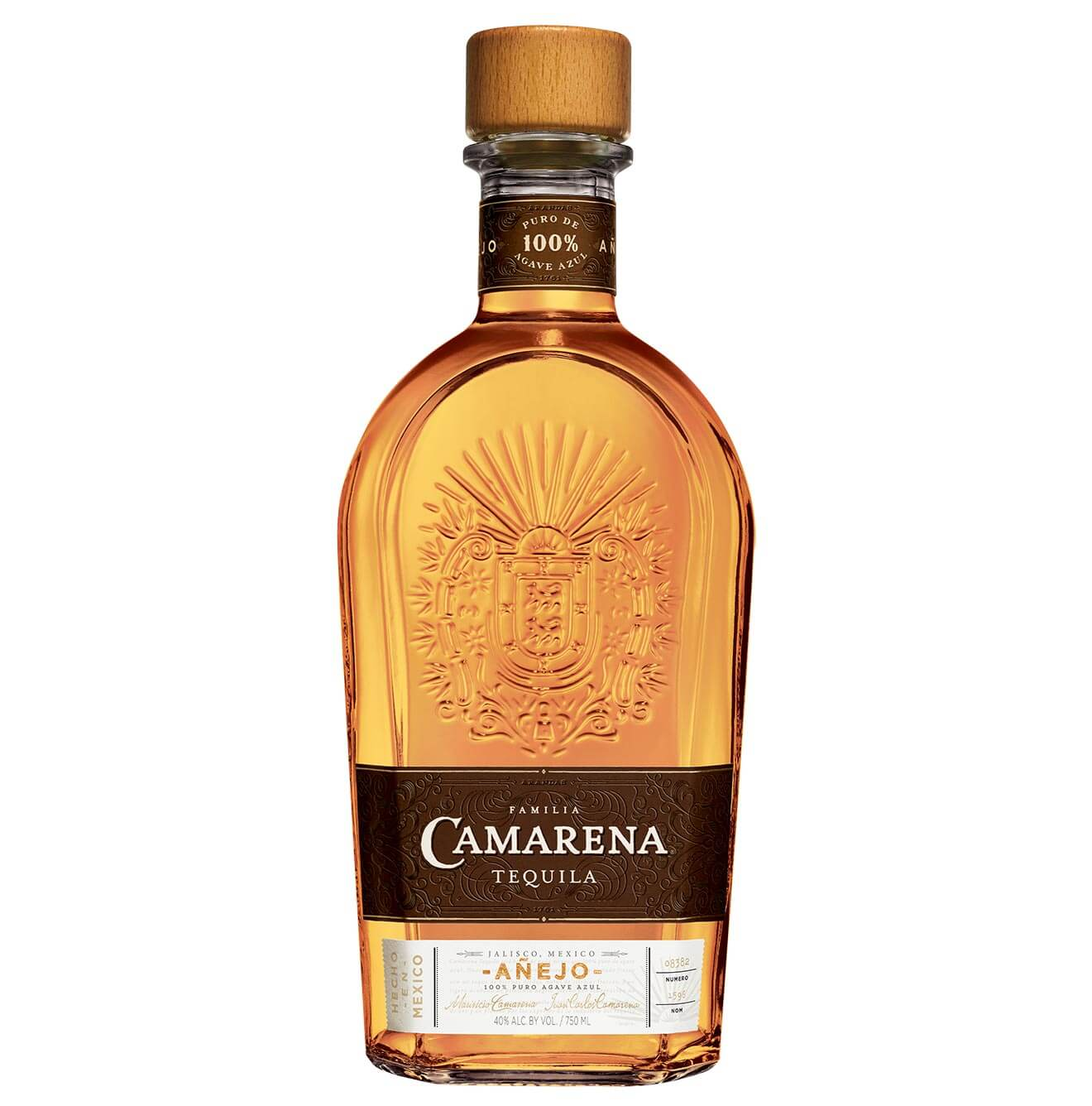 Camarena Añejo Tequila, bottle on white