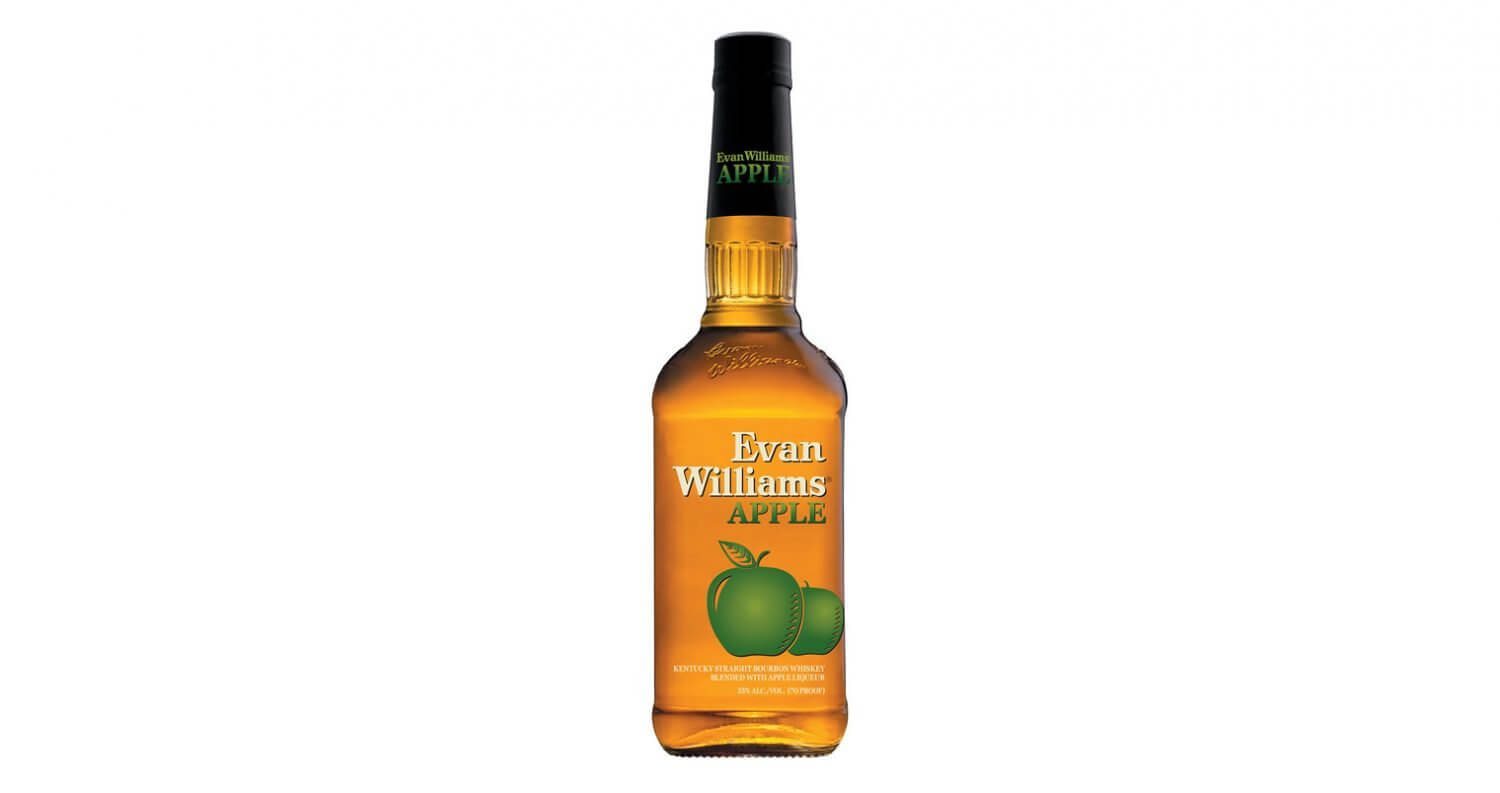 Evan Williams Apple, bottle on white, featured image