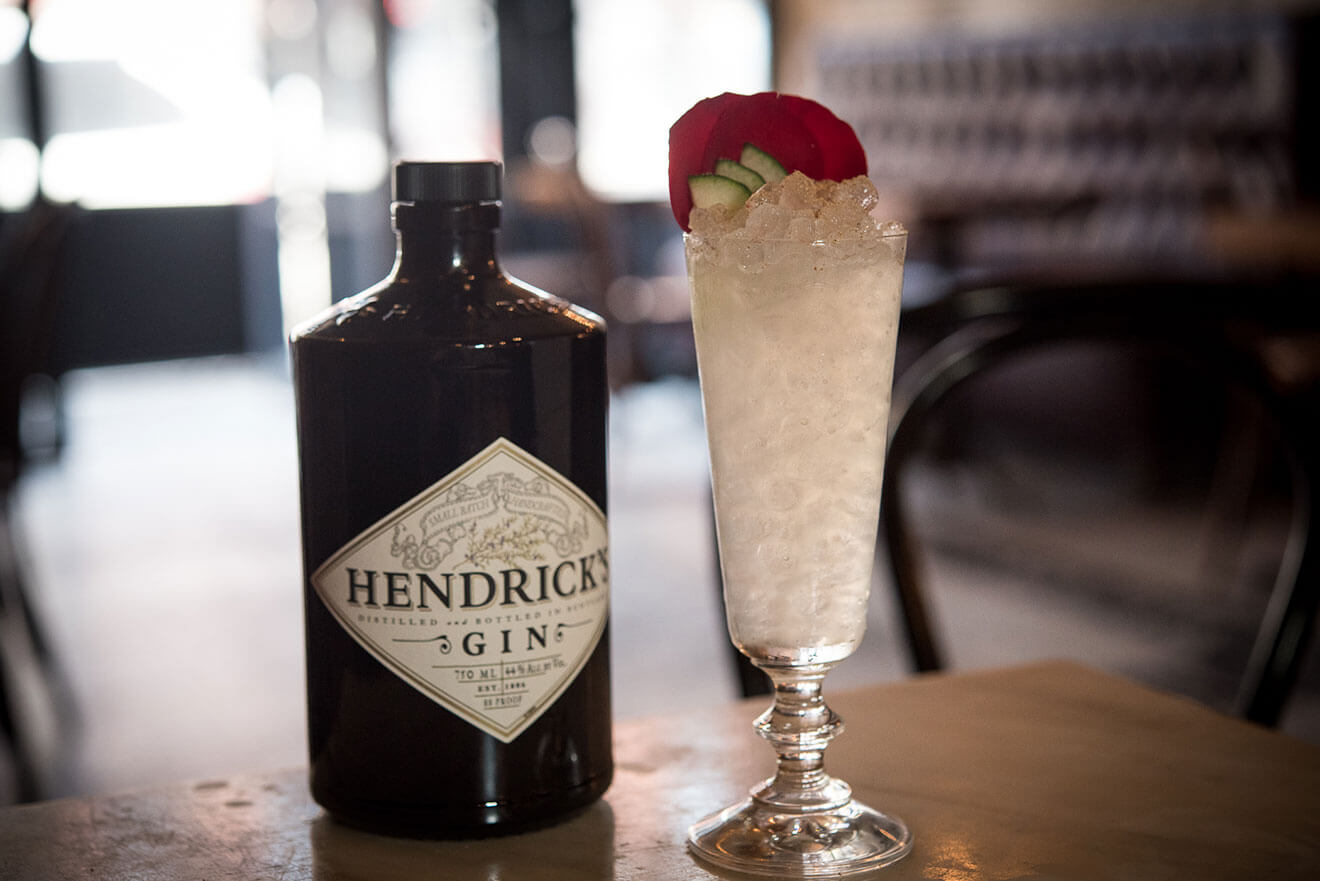 The Charleston Affair, hendrick's gin bottle and cocktail