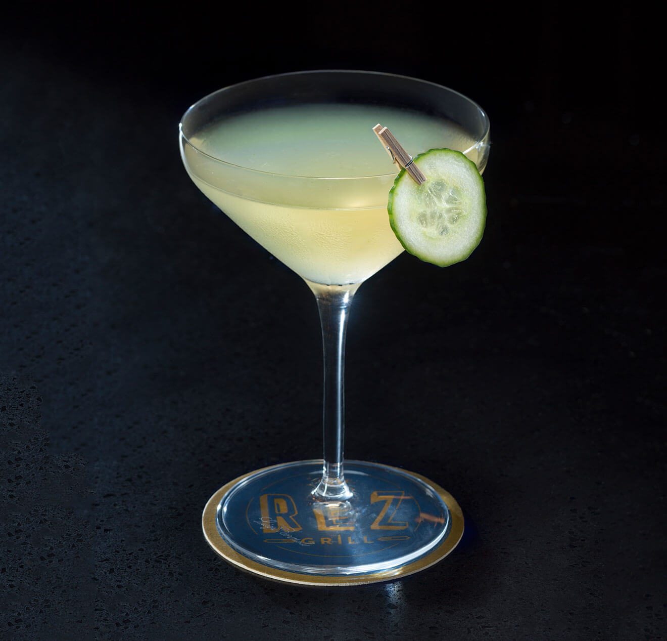 Khalessi, cocktail with cucumber garnish