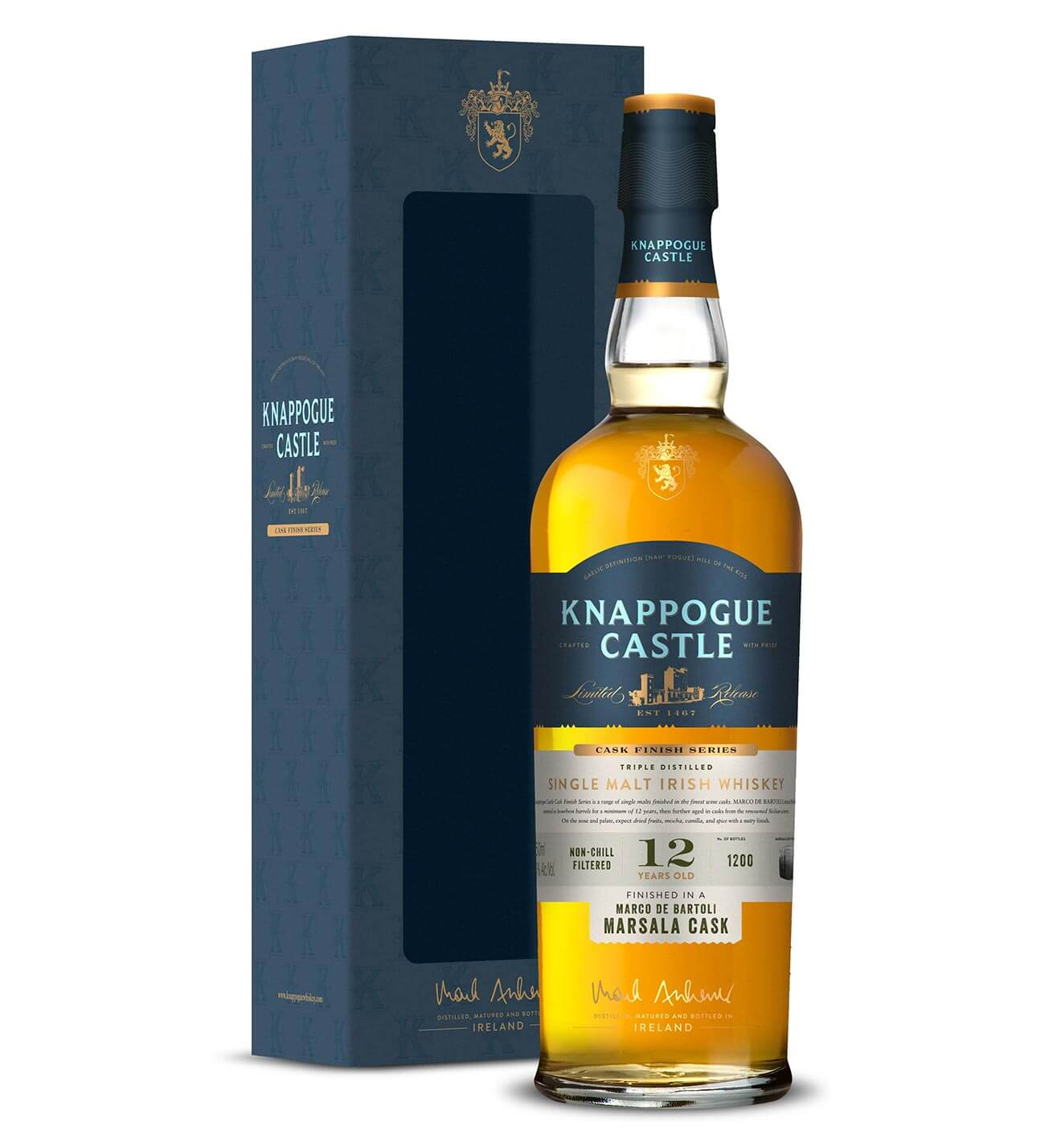 Knappogue Castle 12 Year Old Marsala Cask, packaging and bottle on white