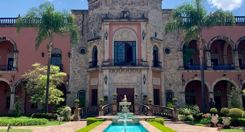 Hacienda Patrón home front entrance with fountain, feature image